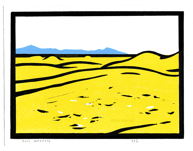 "Algodones Dunes  Linocut Image size 5.5"" x 7.5"", printed on Rives BFK paper Edition of 60  $40 each   PURCHASE VIA VENMO     - Specify 'Algodones' & include mailing address"
