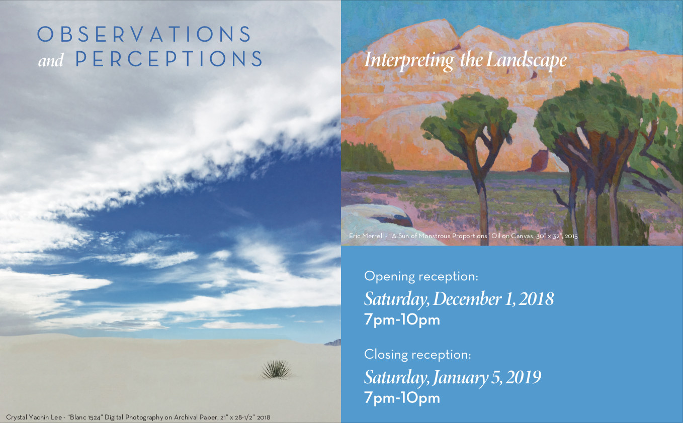 Exhibition postcard with work by Crystal Yachin Lee (L) and Eric Merrell (R).