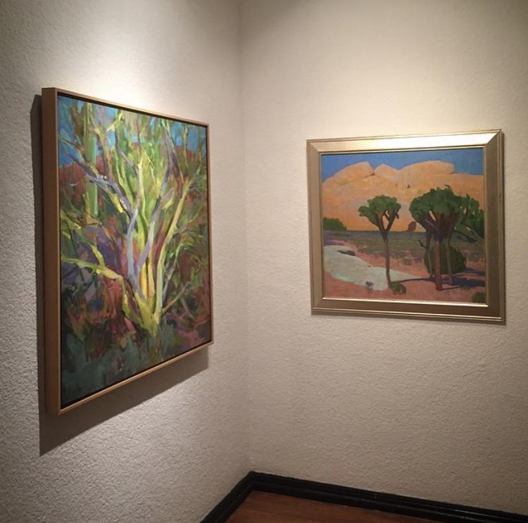 Work by Joe Forkan (L) and Eric Merrell (R). (SAC Arts Gallery, Santa Ana)