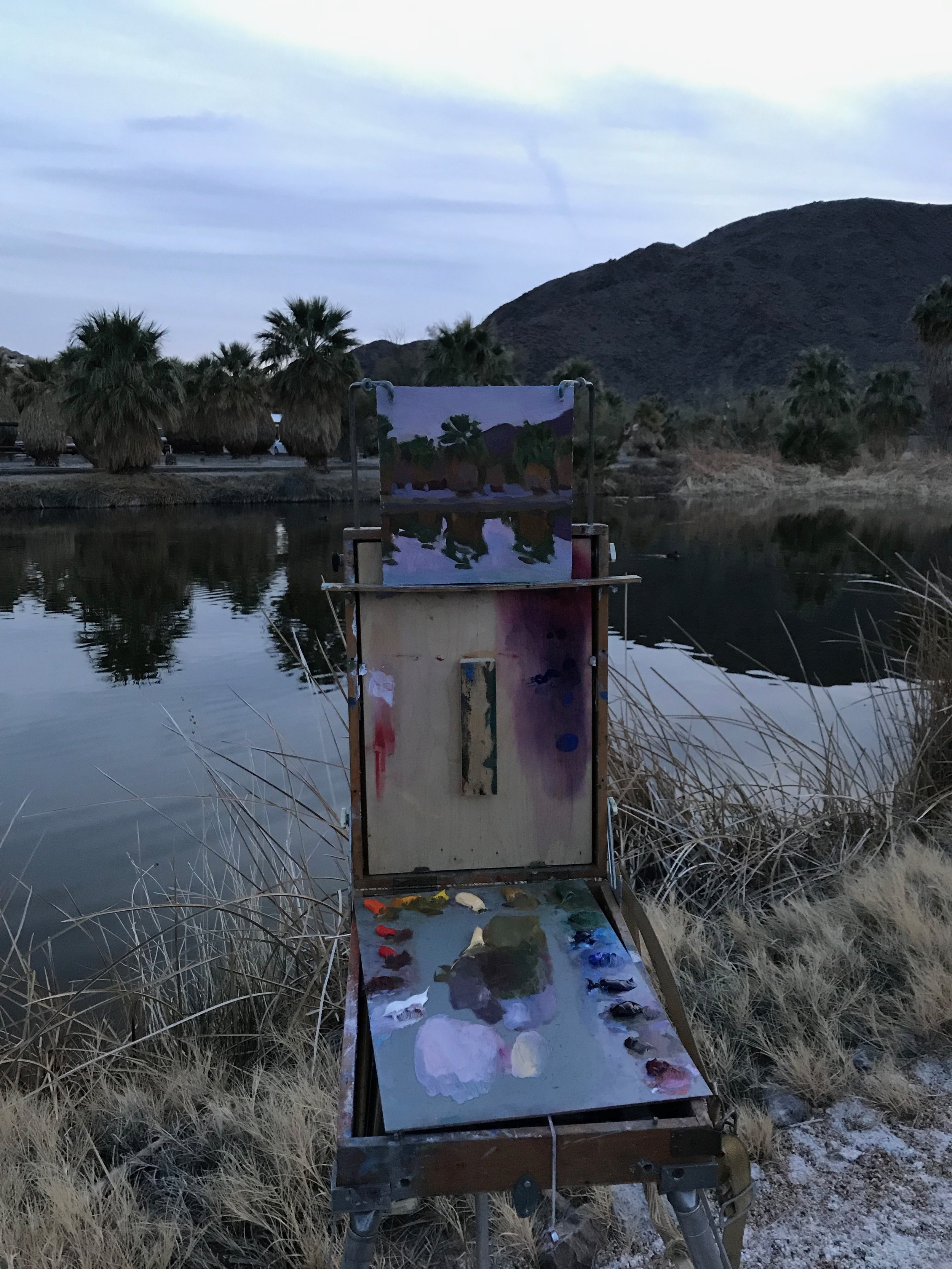 Painting at dusk. The pond at this oasis was man-made, but is fed by natural water sources.