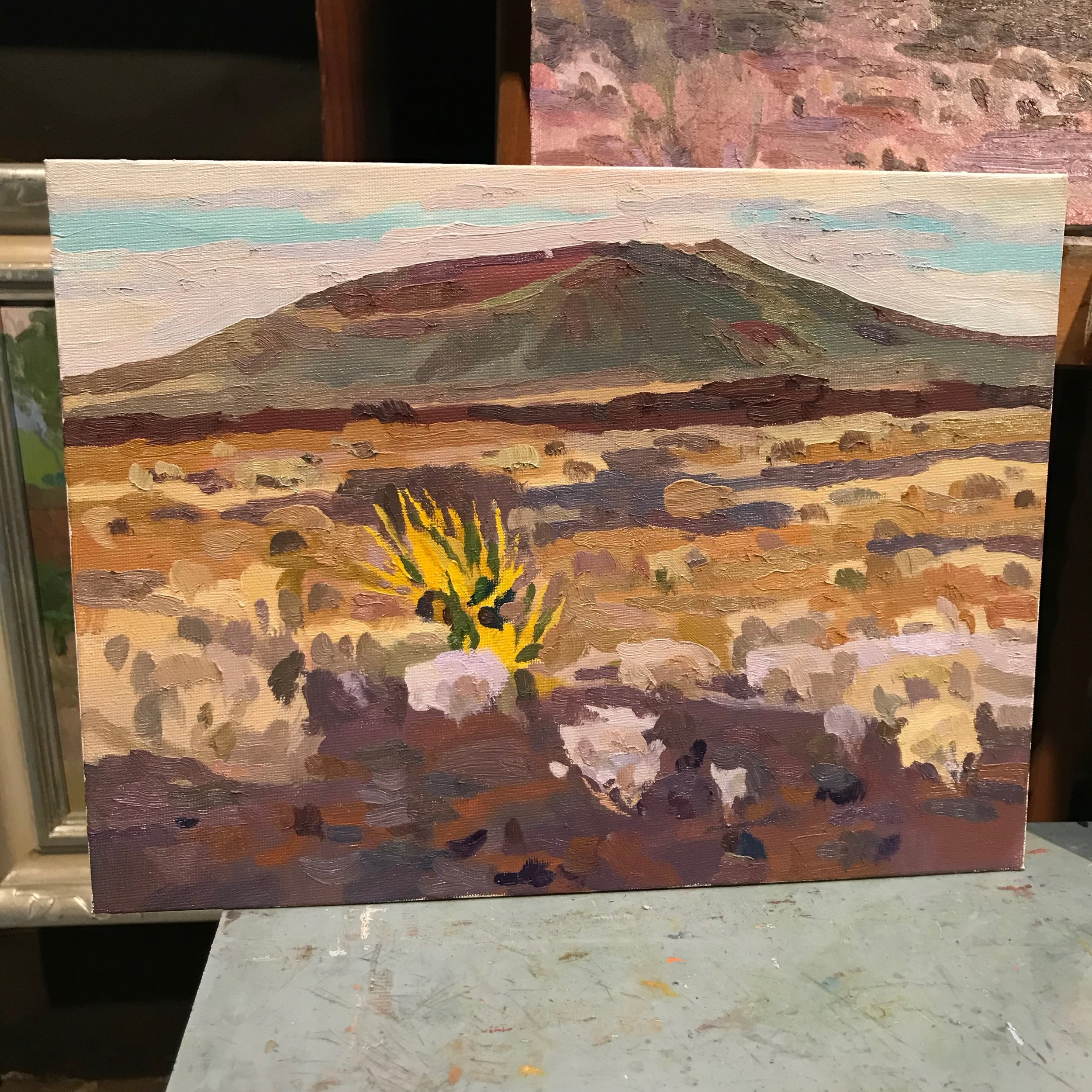 The painting from the location above; the color of a Mojave yucca among the lava rock is so fun.