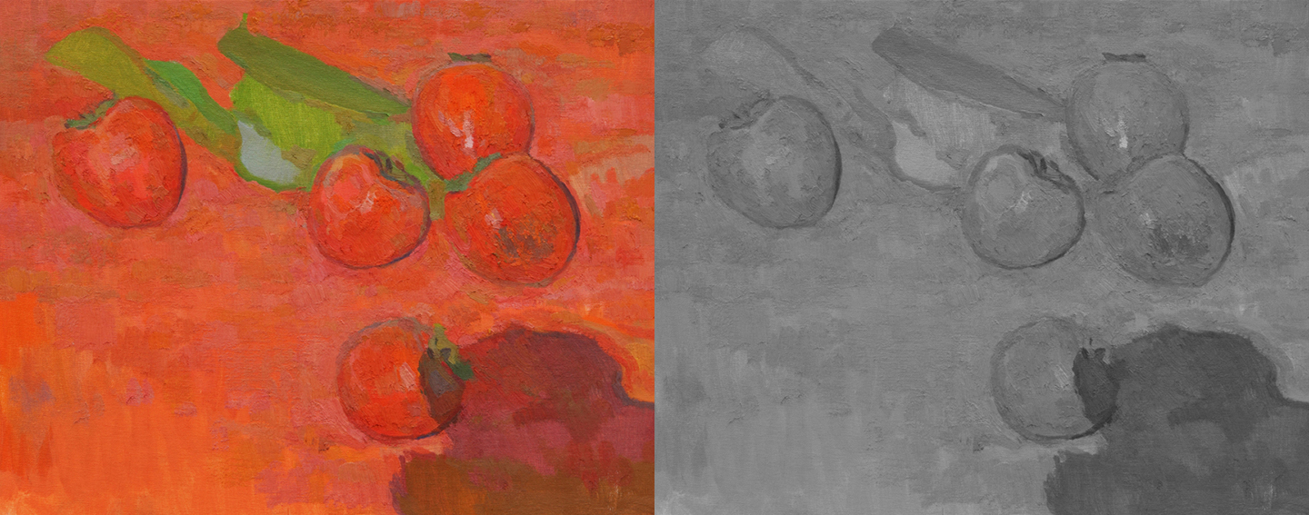 The original painting and the painting with color removed to show only relative lights/darks.