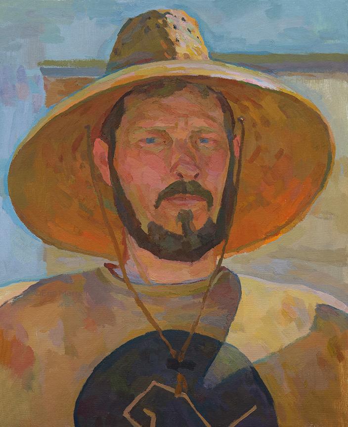 Self-Portrait in a Straw Hat, April 2019, 20x16