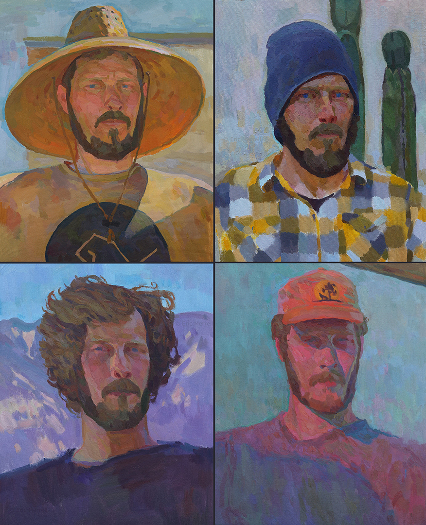 The four most recent outdoor self-portraits. With straw hat (top left, 2019); with cacti (top right, 2018); San Gabriel Mountains (lower left, 2017); at sunset (lower right, 2016).