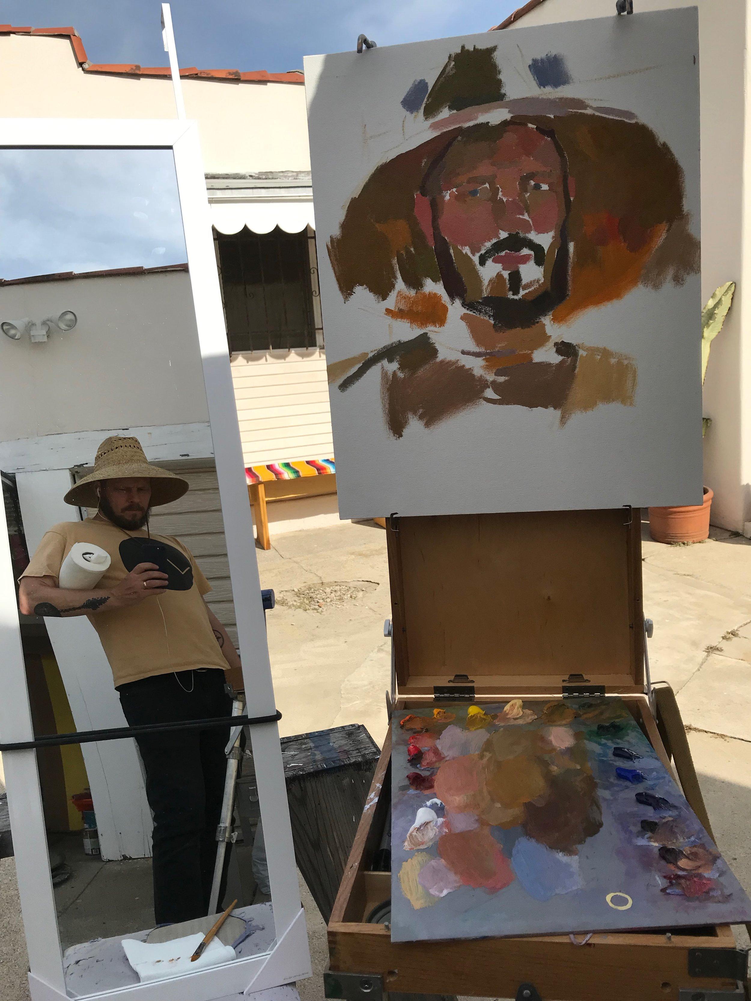 Beginning the painting.