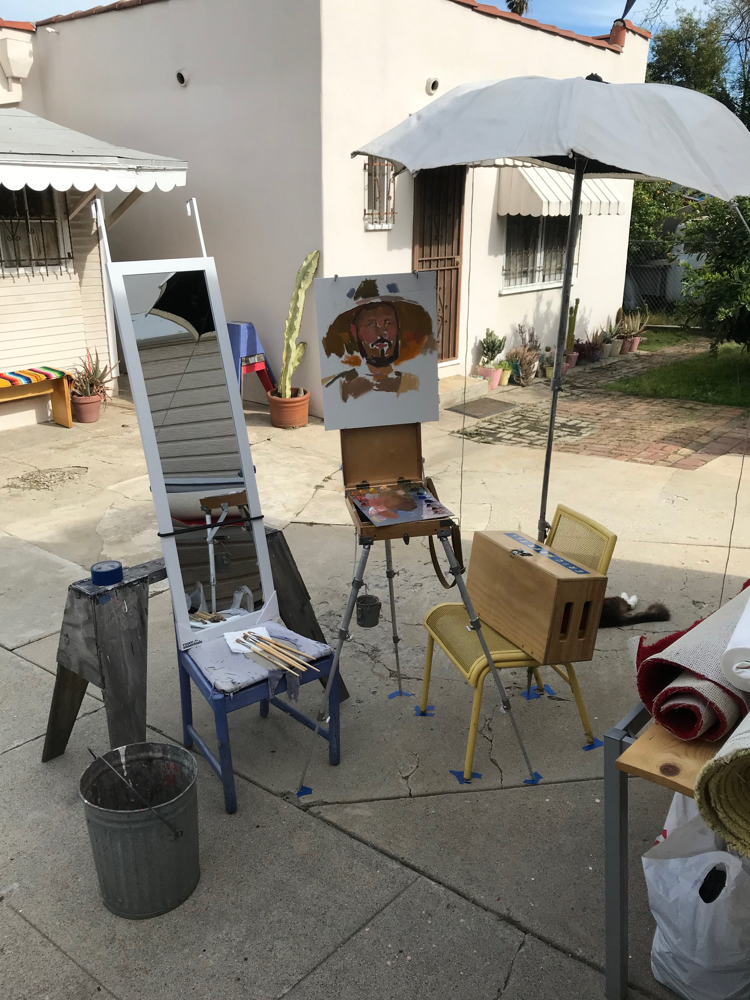 Overview of my setup for the outdoor portrait.