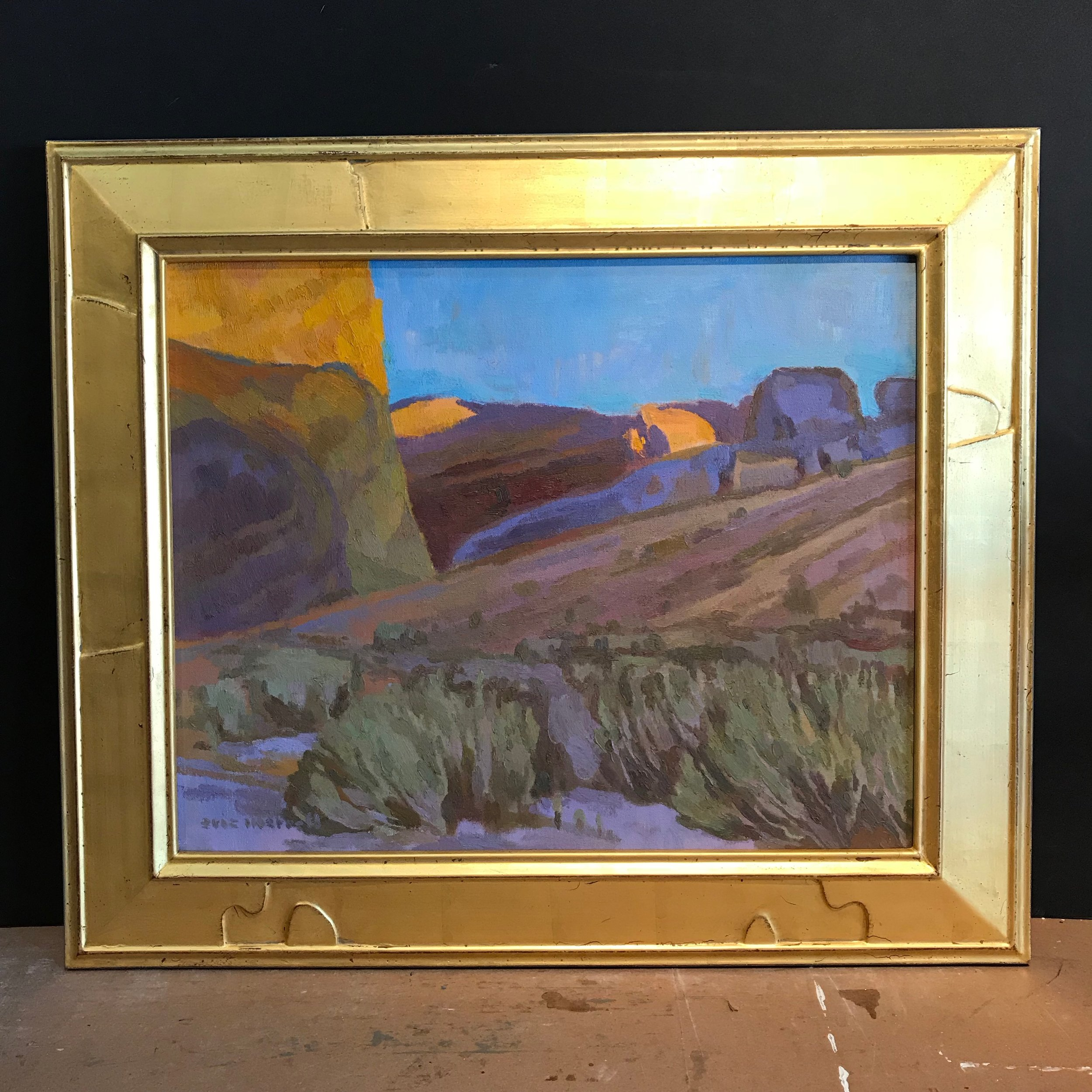 "California Desert Trails , 16"" x 20"" - carved by the artist, gilded with 22k orange gold"