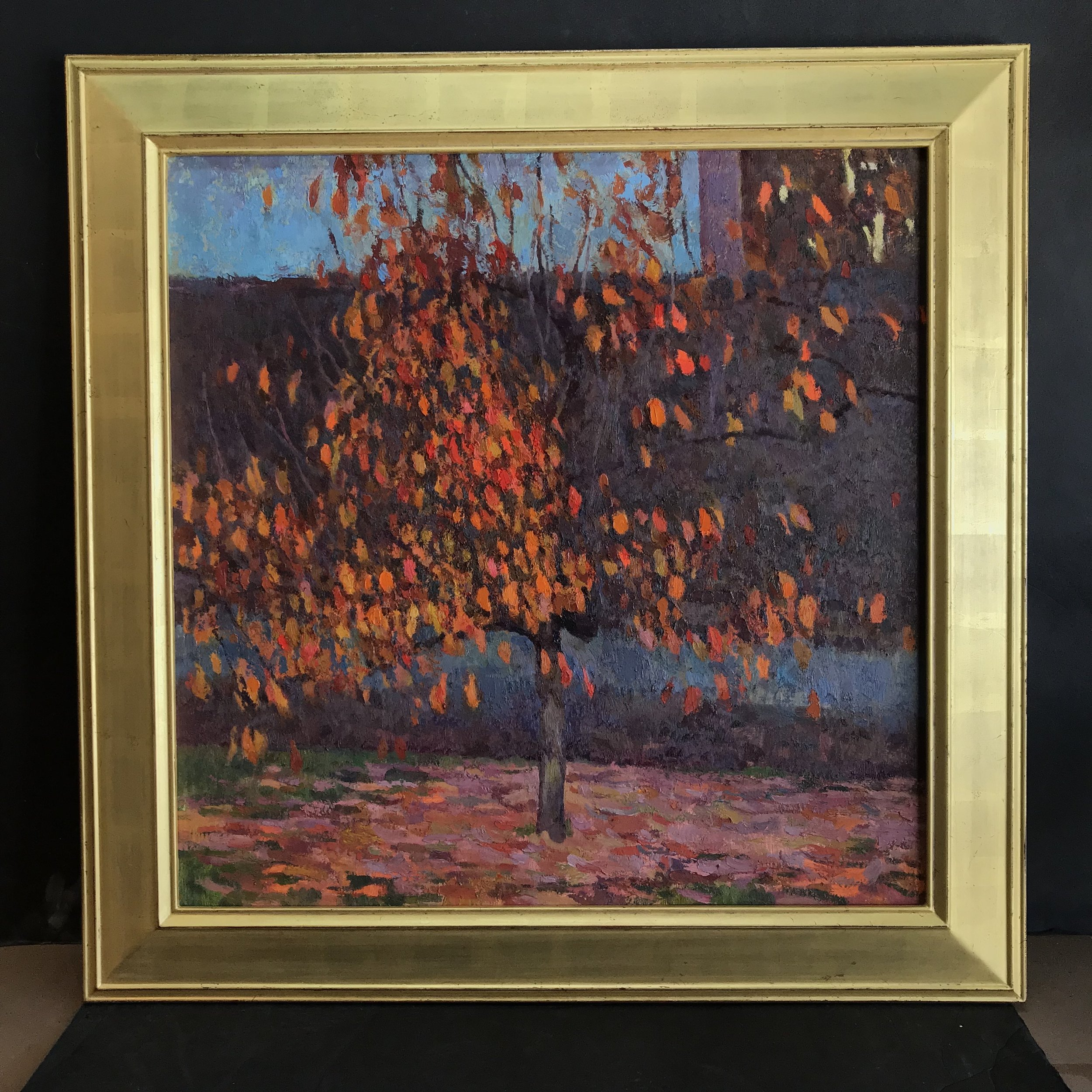 "Persimmon Tree,  24"" x 24"" - gilded with 22k orange gold (SOLD)"