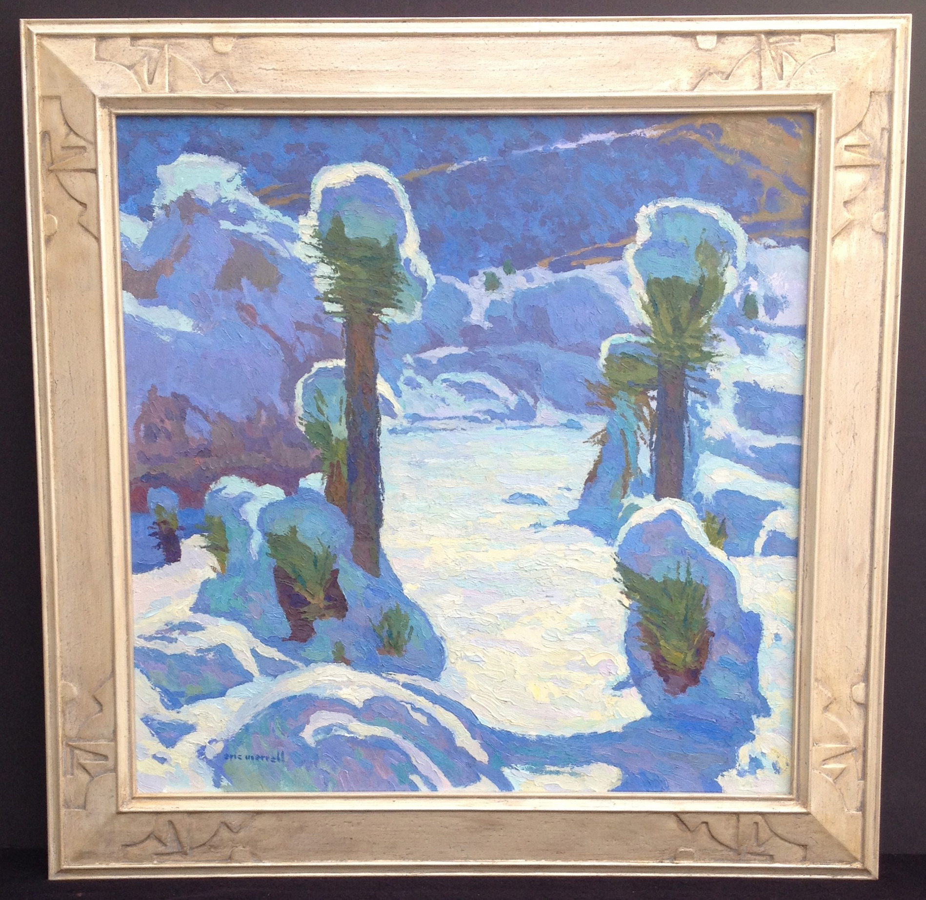 "Joshua Trees in the Snow , 24"" x 24"" - carved by the artist, gilded with true silver (SOLD)"