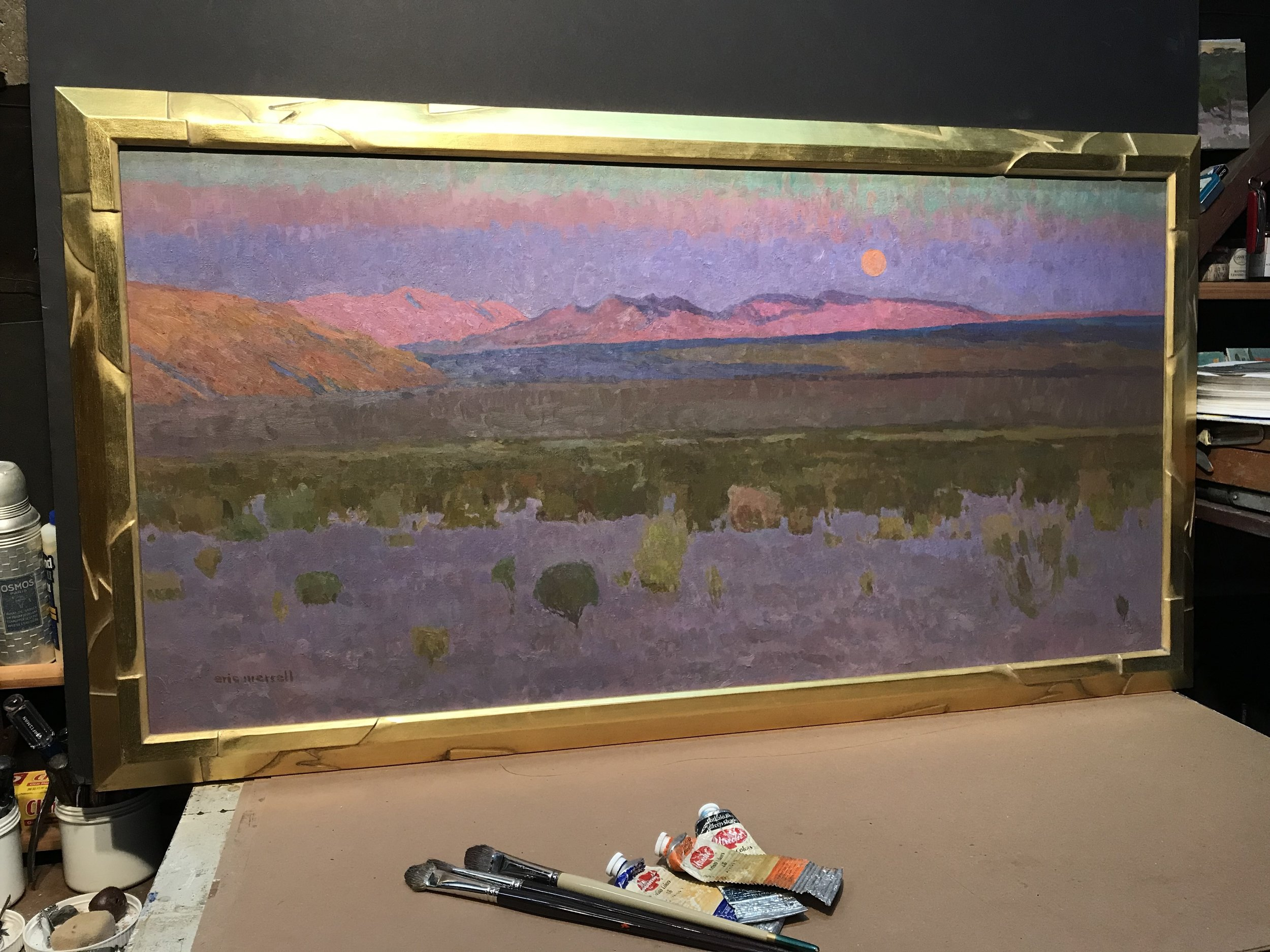 "The Rush (Moonrise over the Pinto Basin, Joshua Tree) , 24"" x 48"" - carved by the artist, gilded with 22k orange gold"