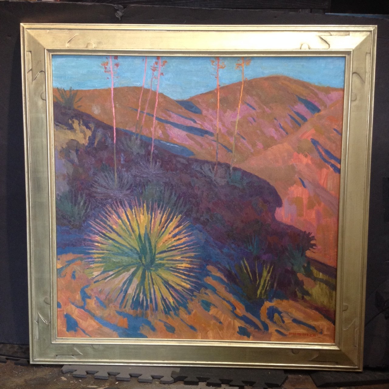 "Golden Needles , 30"" x 30"" - carved by the artist, gilded with 18k lemon gold (SOLD)"