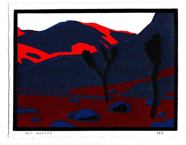 "Realm of the Desert Tortoise  (Red version) Linocut Image size 5.5"" x 7.5"", printed on Rives BFK paper Edition of 30 (5 available) $40 each   PURCHASE VIA VENMO     - Specify 'Desert Tortoise' & include mailing address"