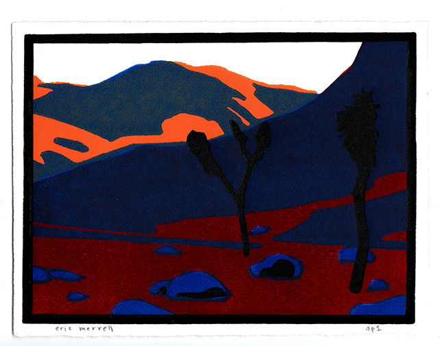 "Realm of the Desert Tortoise  (Orange version) Linocut Image size 5.5"" x 7.5"", printed on Rives BFK paper Edition of 30 [Out of print]"