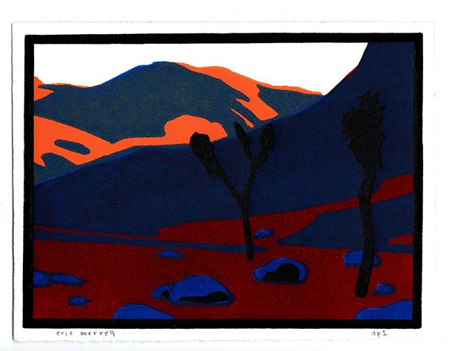 Realm of the Desert Tortoise, linocut (orange version), 2019 [Orange version is out of print]