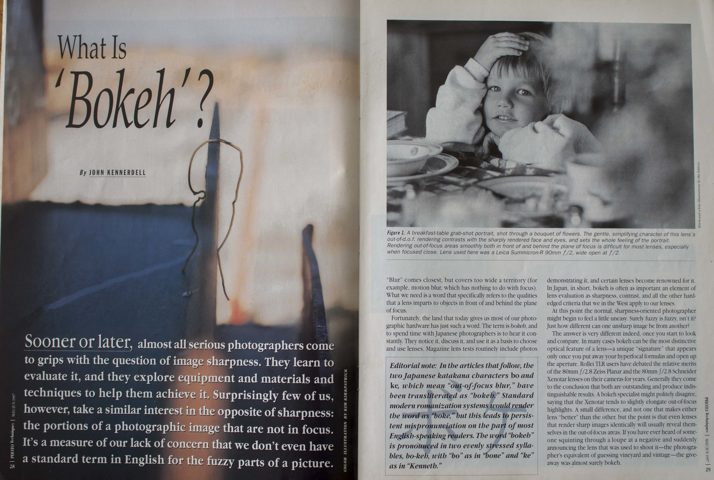 It took 28 pages before it got to the main article spread, but I was instantly hooked. It had the perfect combination (for me) of being relevant information, a reveal of mysterious secrets and eminently applicable technique. It did not hurt that at the time, I was using two of the lenses in the samples (100 f2.8 EF macro, the old one, and the first EF 35 f2) and it also referenced a brand I had just moved out of, but had great fondness for, Zenza Bronica.
