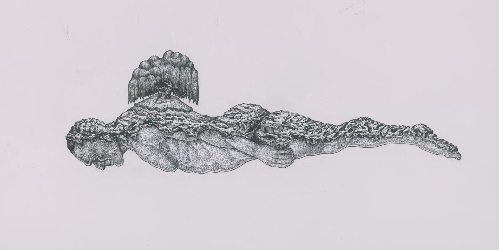 Map the Mind T - Shirt Illustration - Pen and Ink - Pointillism