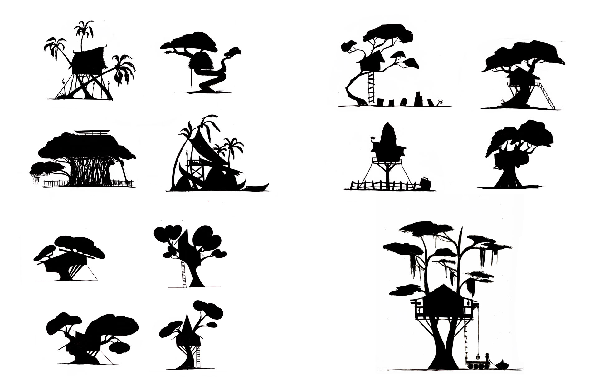 Tree House Silhouette Exploration