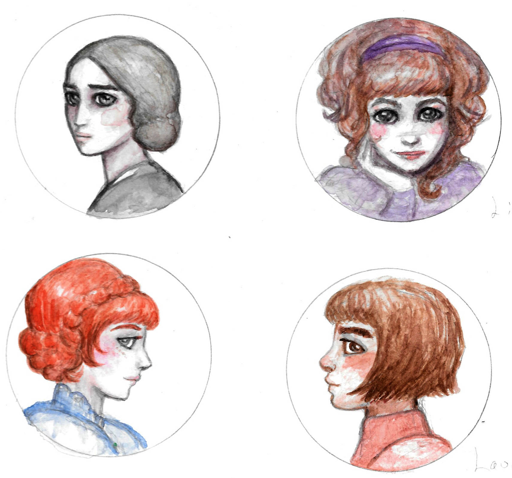 Teensy watercolor portraits of some of my favorite lit ladies, left to right: Jane Eyre, Lizzie Bennett, Anne Shirley, and Laura Ingalls.