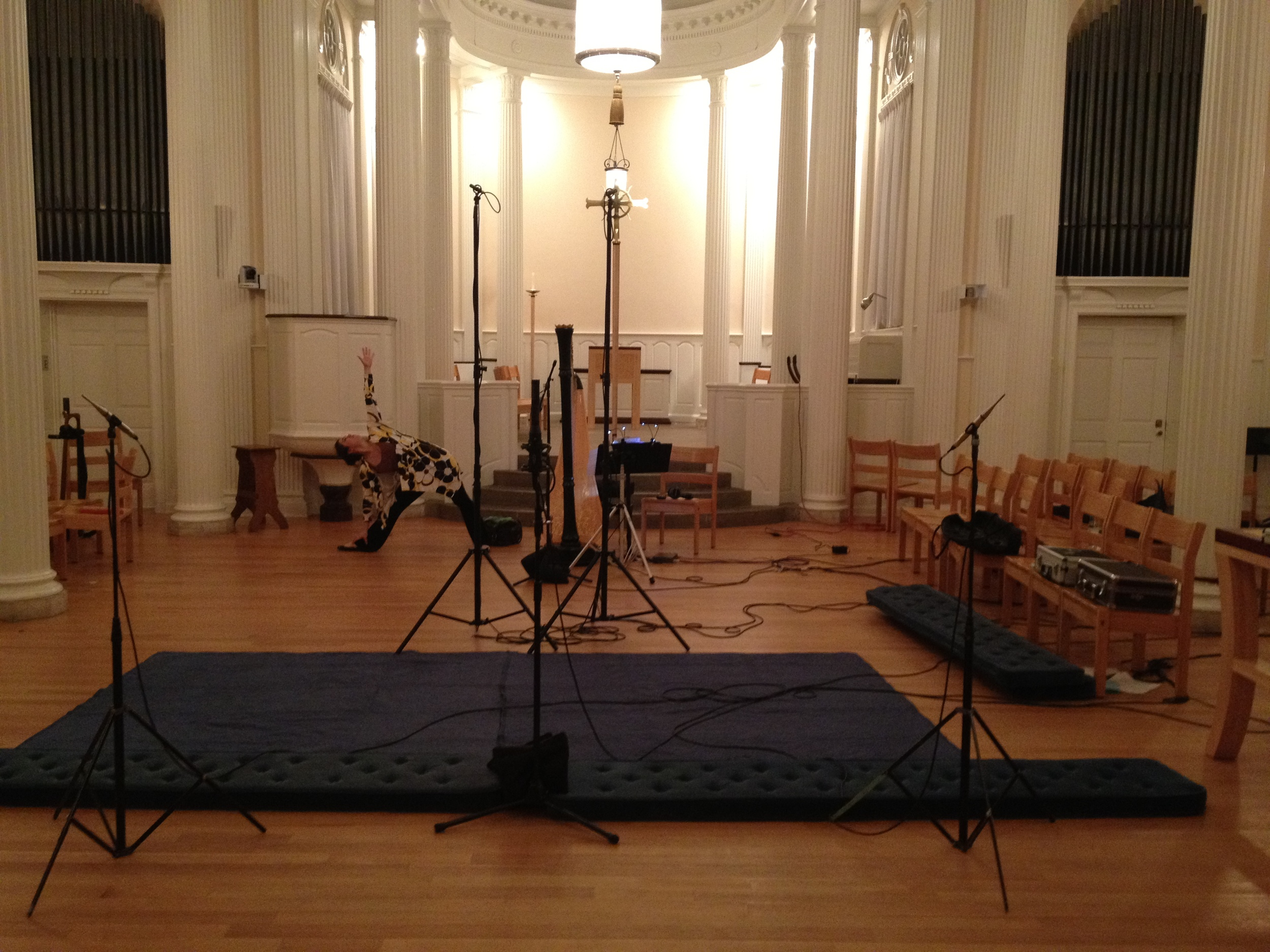 """Yoga in Marquand Chapel during a recording session for """"Hymn to the Dawn"""""""