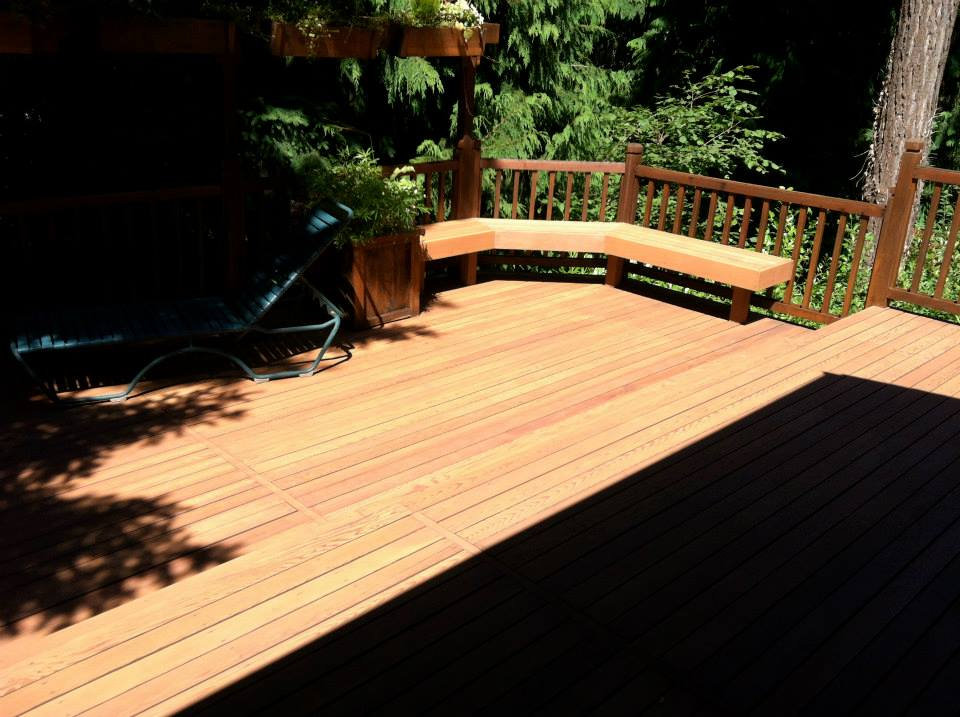 Versatile sanded this large deck of all it's old stain and recoated.