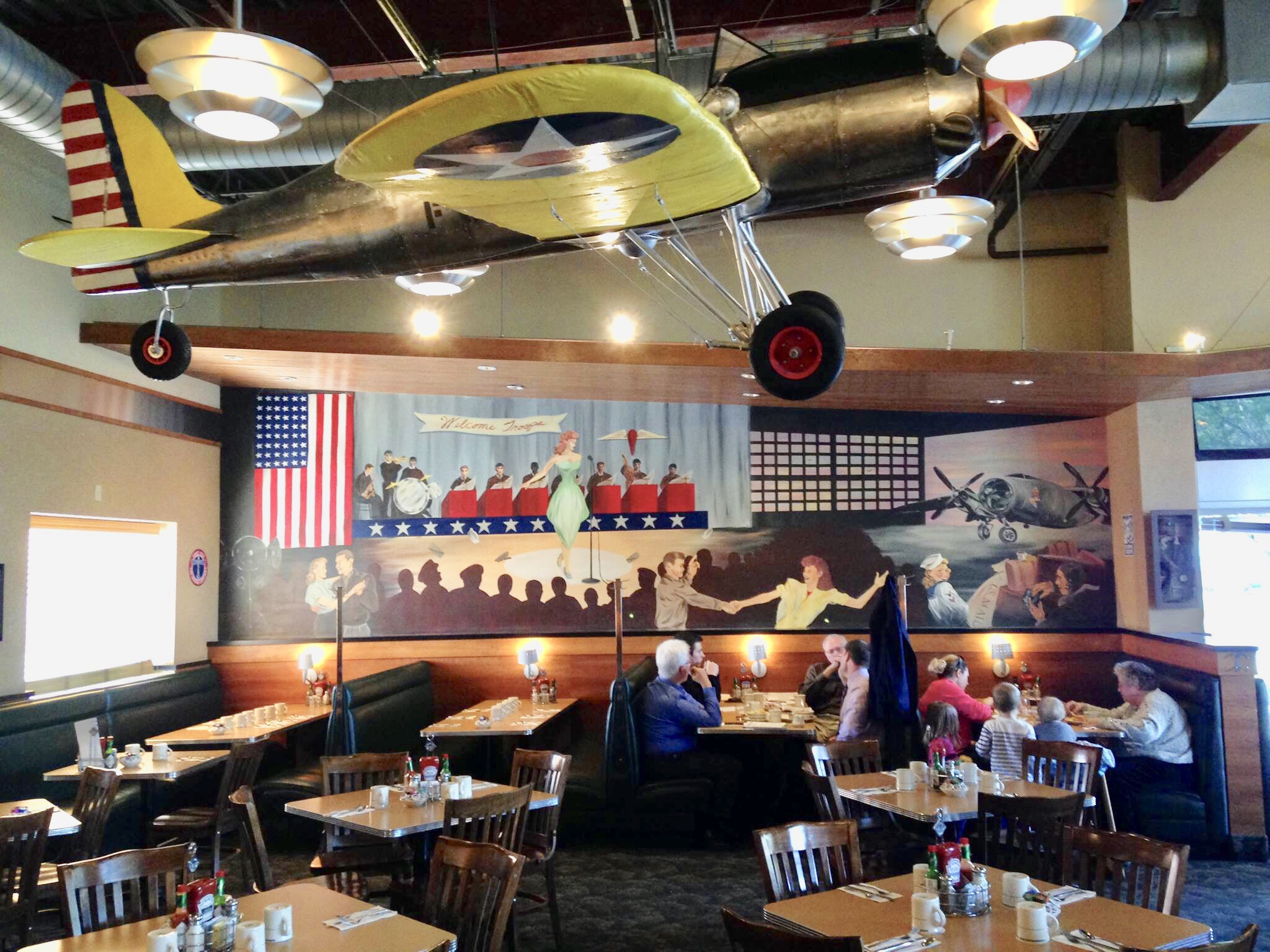A USO Themed mural for the Crystal Creek Cafe in Millcreek, WA.