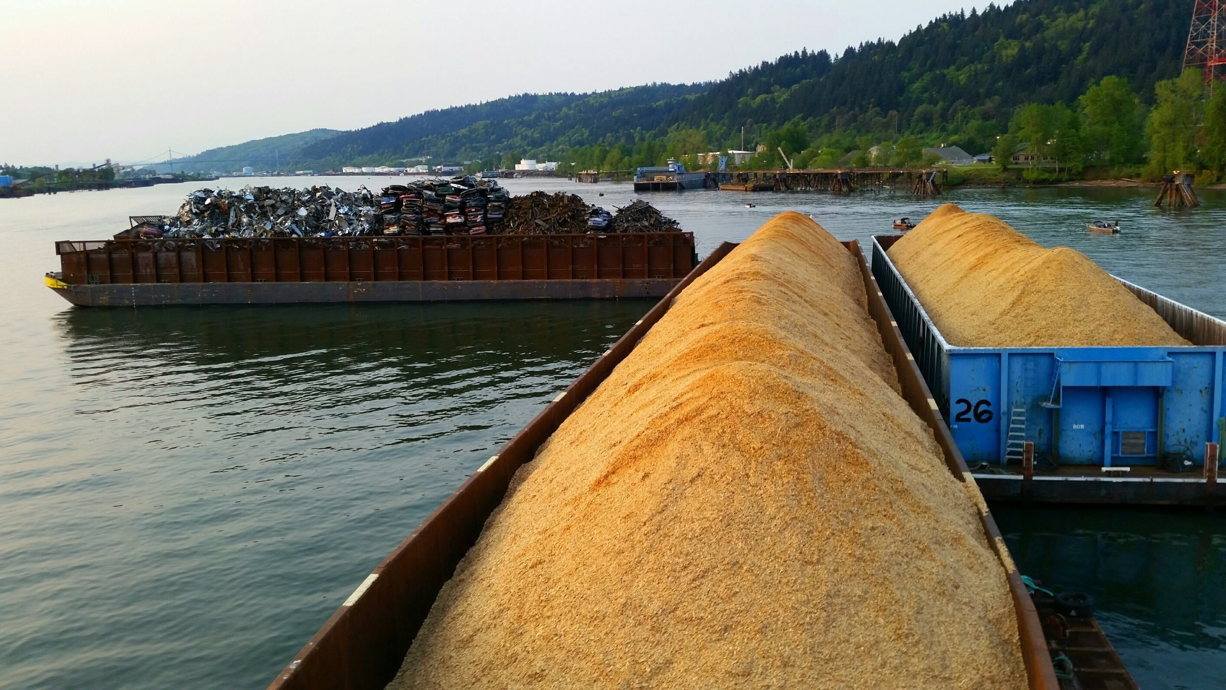Five barges carrying 5,000 BDU's of wood chips is equivalent to over 100 rail cars or over 350 semi-trucks.