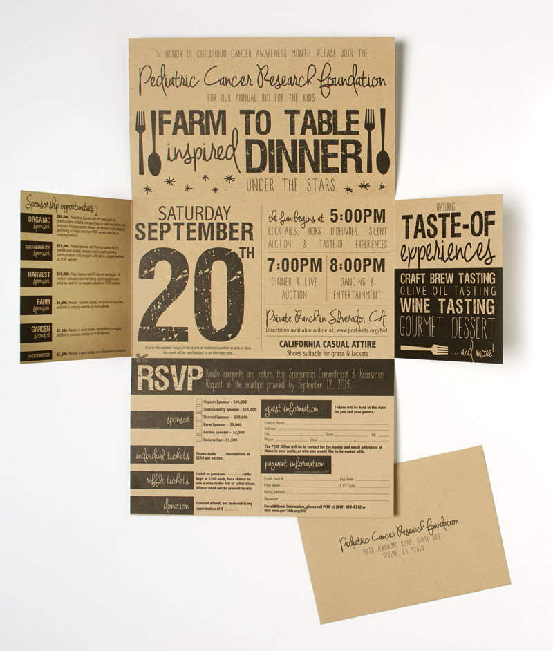 2014 PCRF Gala Invitation & RSVP envelope
