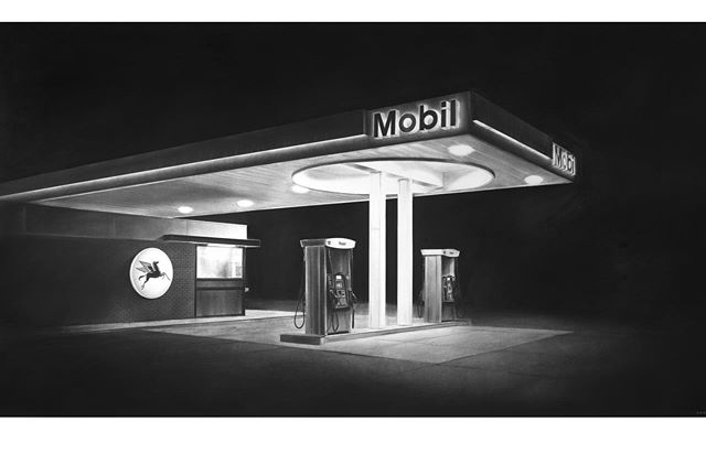 """Western Mobil"" (40 x 72 in., 2019) is featured in DEEP FOCUS a show of my cinematic charcoal drawings at @helmelstudios at 4351 Melrose in Hollywood through Sun, Sept. 29th. / Mon. - Sat. 12 to 5 or by appt. (contact tom@valkilmer.com) HelMel Studios is a new art space in Hollywood showcasing Los Angeles area artists and created by one of the most dimensional and dynamic artists I know, Val Kilmer. @valkilmerofficial #losangelesartist #losangelesartists #hollywoodart #hollywoodarts #charcoaldrawing #drawing #contemporaryart #contemporaryrealism #losangeles #hollywood"