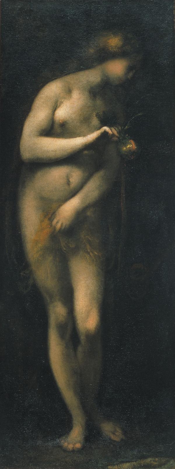 'Eva Temptada',Cecco Bravo, 17th Century, Oil on Canvas (109 x 42.2cm)