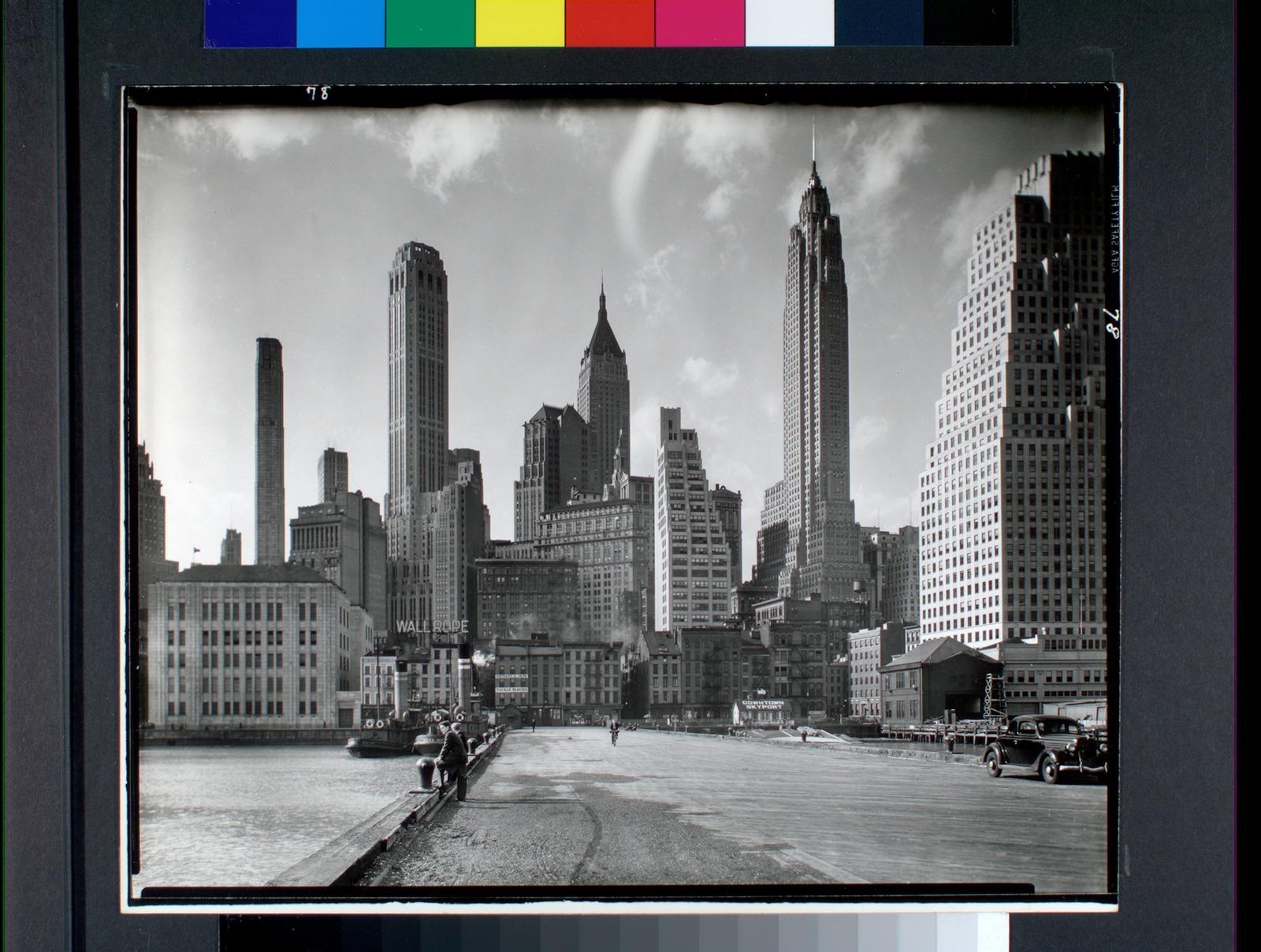 Manhattan Skyline: I. South Street and Jones Lane, Manhattan (1935) | Abbott Berenice