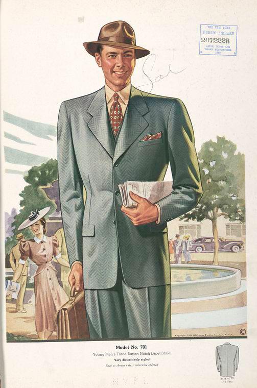 Model No. 701. Young men's three-button notch lapel style.