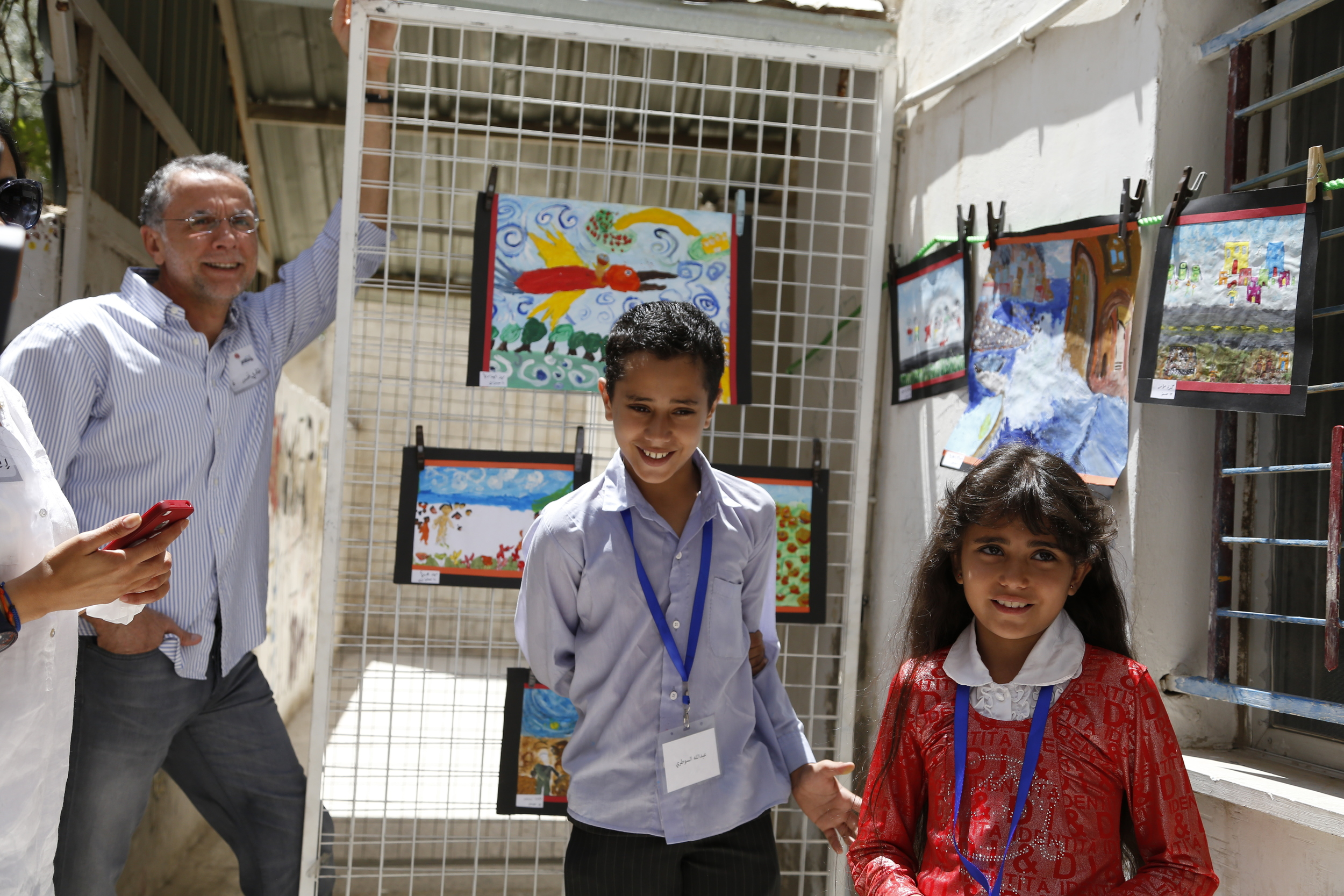 Fadi Ghandour (Left) and children on Ruwwad Day 2014 | Ruwwad