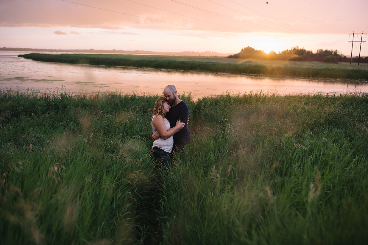 Beautiful Sunset during an engagement session in St. Albert