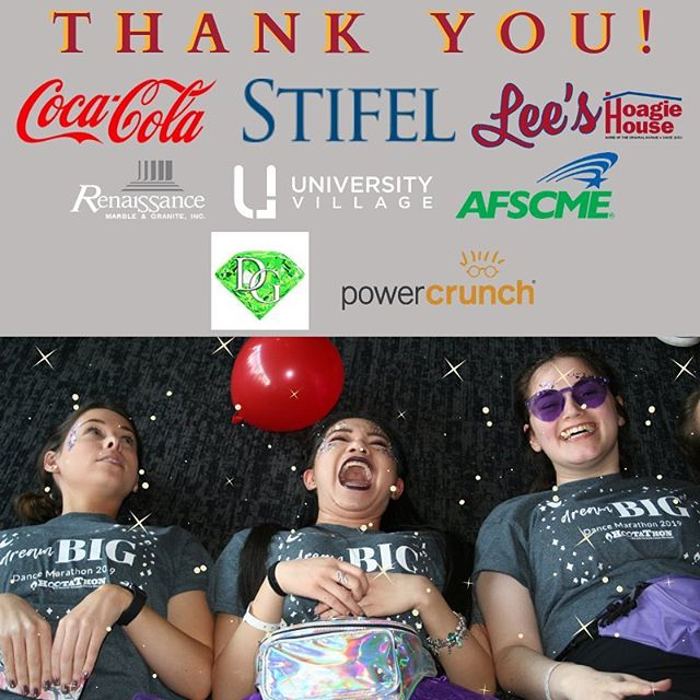 We'd like to extend another big thank you to our corporate sponsors! With your help we were able to put together an amazing #DanceMarathon2019!