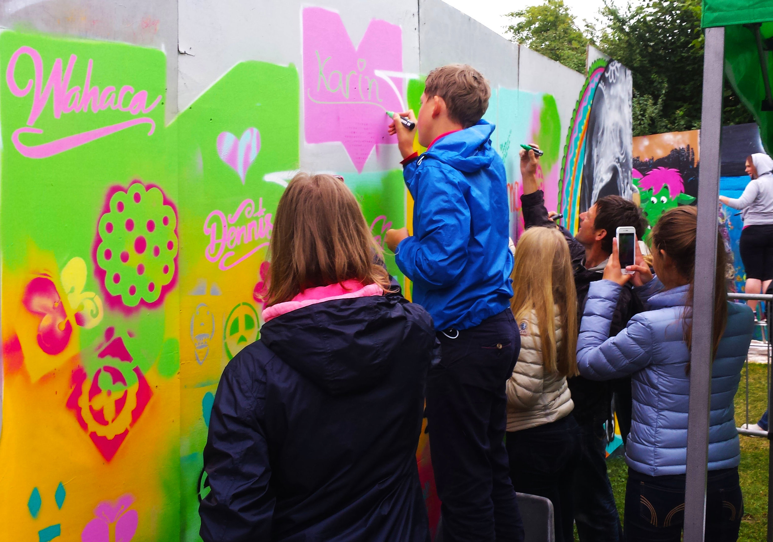 Here we ran an 'open session' at Upfest, where anyone could drop by and have a go.