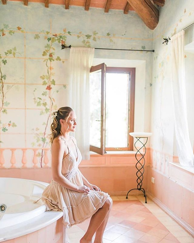 We are in love with this portrait of our most recent bride Elena in the Villa master-suite bathroom.