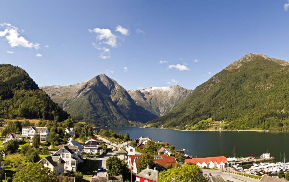 View towards Esebotn and the fjord and mountains.