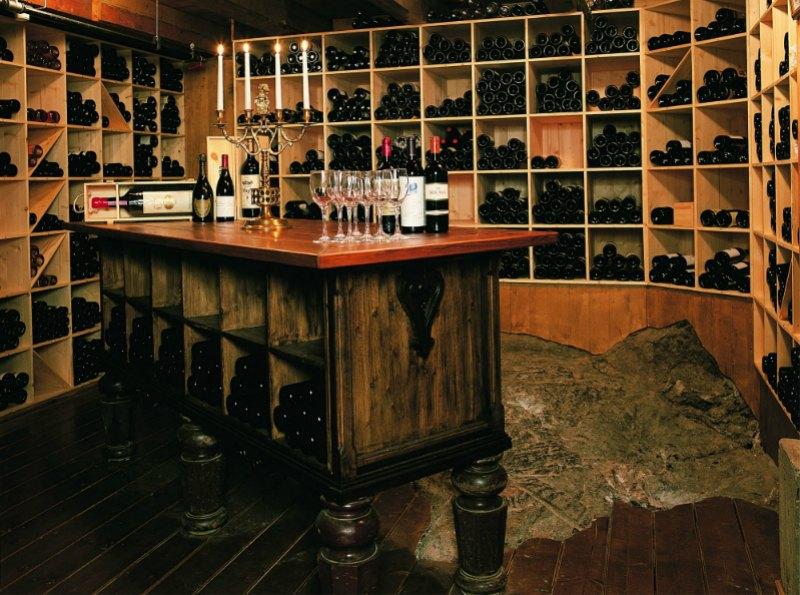 Well-stocked wine cellar.