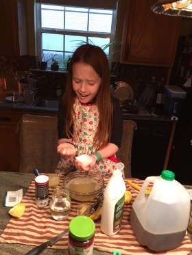 "one of Addi's kitchen ""experiment"" she was dissecting a lemon she said :)"