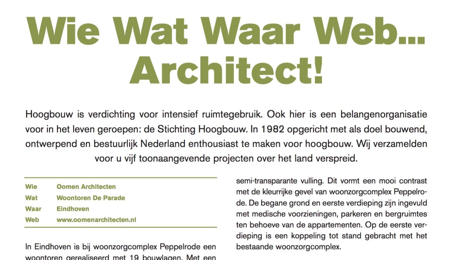 Publicatie over Woontoren de Parade in Eindhoven