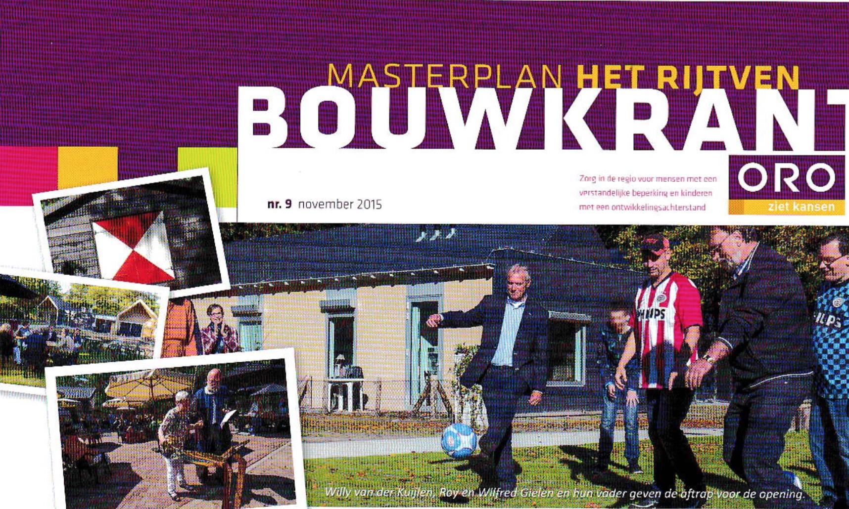 Bouwkrant met de voortgang van de bouw aan het Masterplan Het Rijtven in Deurne