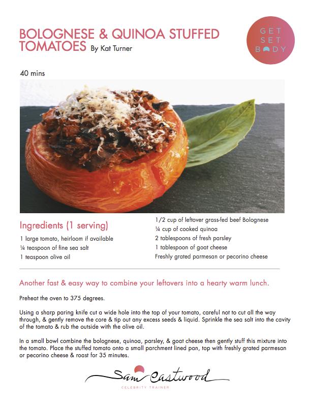 Bolognese & quinoa stuffed tomatoes