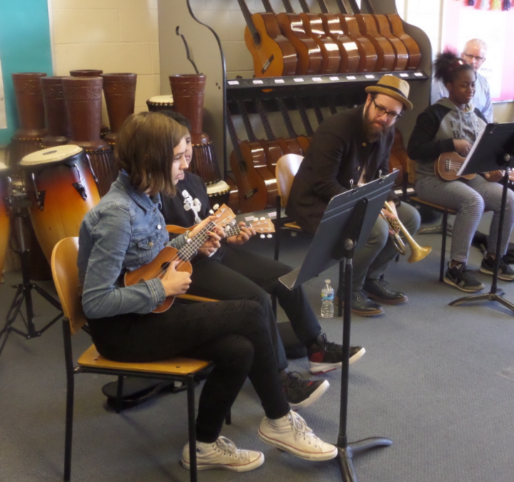 Cornetist Kirk Knuffke working with students during a Howard Fishman Quartet workshop at Dual Language & Arts Magnet Middle School in Waterford, CT