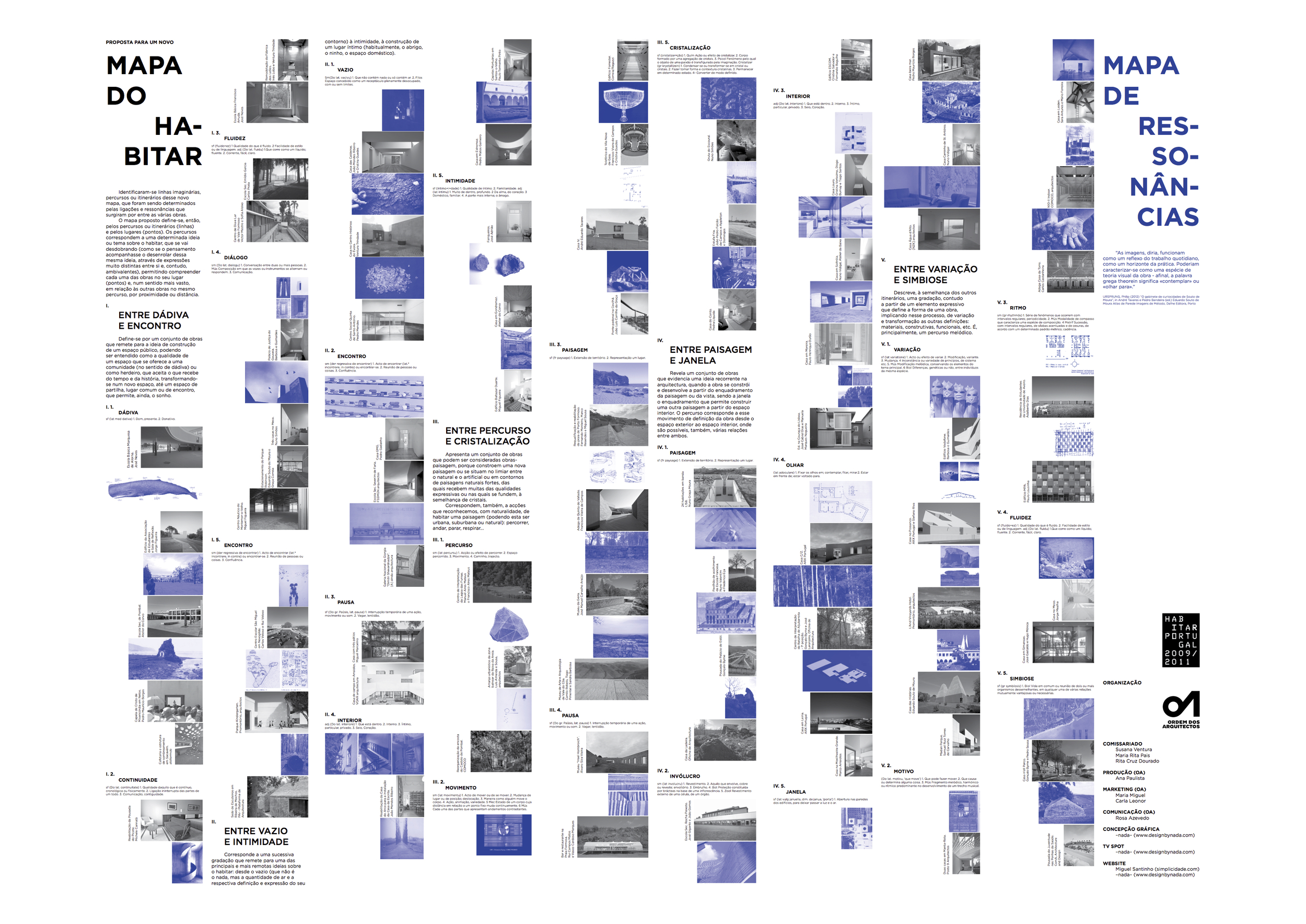 02. Habitar Portugal 09-11: Folding Map - back (featuring the works of architecture, in black and white, organized according to the imagined itineraries and places, and the respective map of resonances in shades of blue). Design by nada.