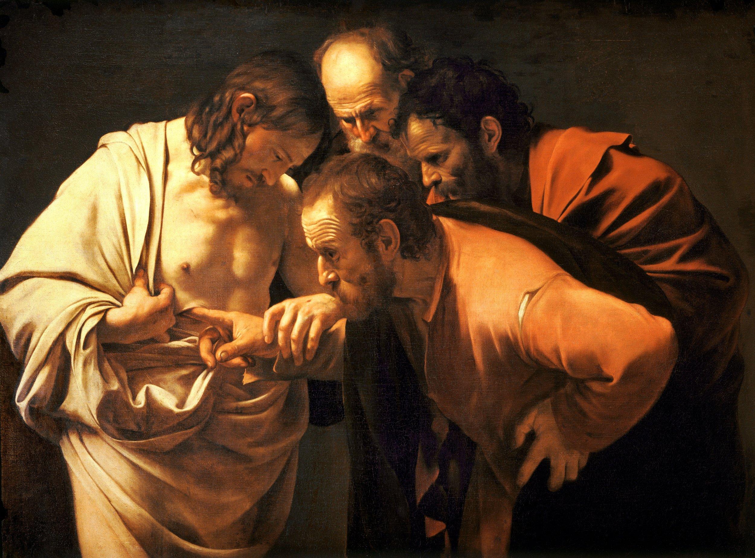 The Incredulity of Saint Thomas , Caravaggio (circa 1601-1602)