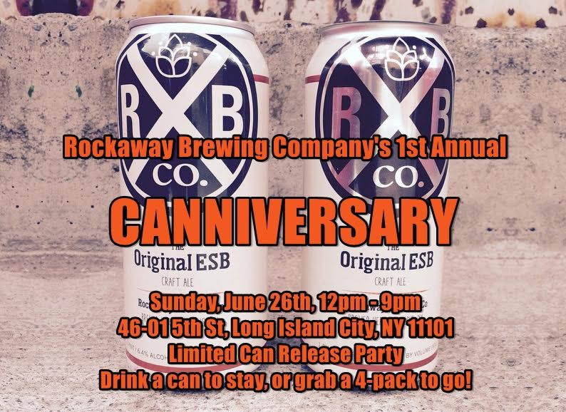 """This Sunday, June 26th, marks our first annual Canniversary! Just one year ago we started canning beer, thanks to your gracious contributions through our inaugural Kickstarter campaign! Because of you, our Rockaway ESB has entered the realm of package, and it's opened worlds of doors for us. As a commemoration of this event, we'll be doing a limited can release of our new black lager, """"Blacktop."""" All day on Sunday, we'll be doing $4 cans in-house, or $15 4-packs. Come check out the release, bring some cans home, or have one to stay!"""