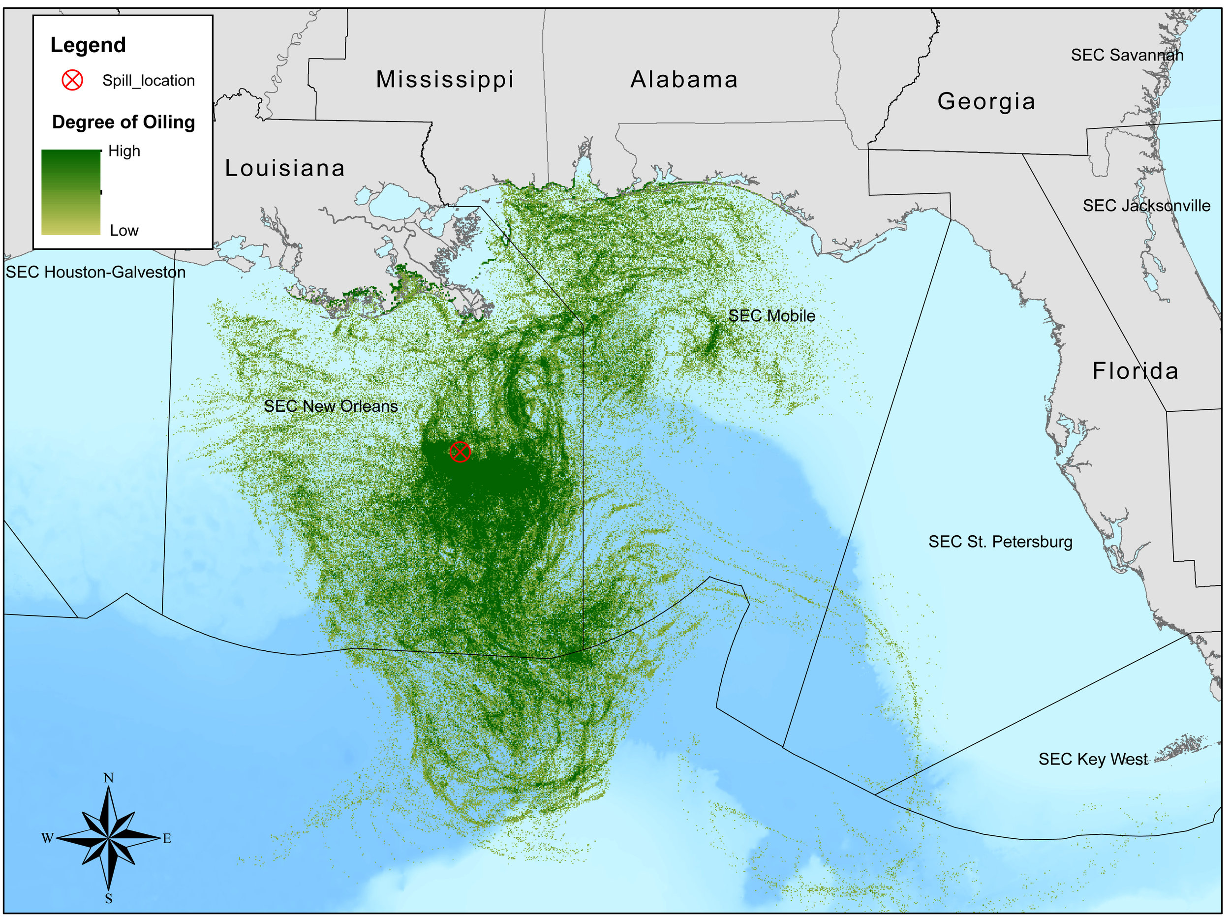 Spatial extent of an oil spill simulation in the Gulf. Degree of oiling is measured as the amount of oil that passes through one 1km x 1km pixel over the duration of the simulated spill. The spill simulation was performed using the BLOSOM oil spill model.