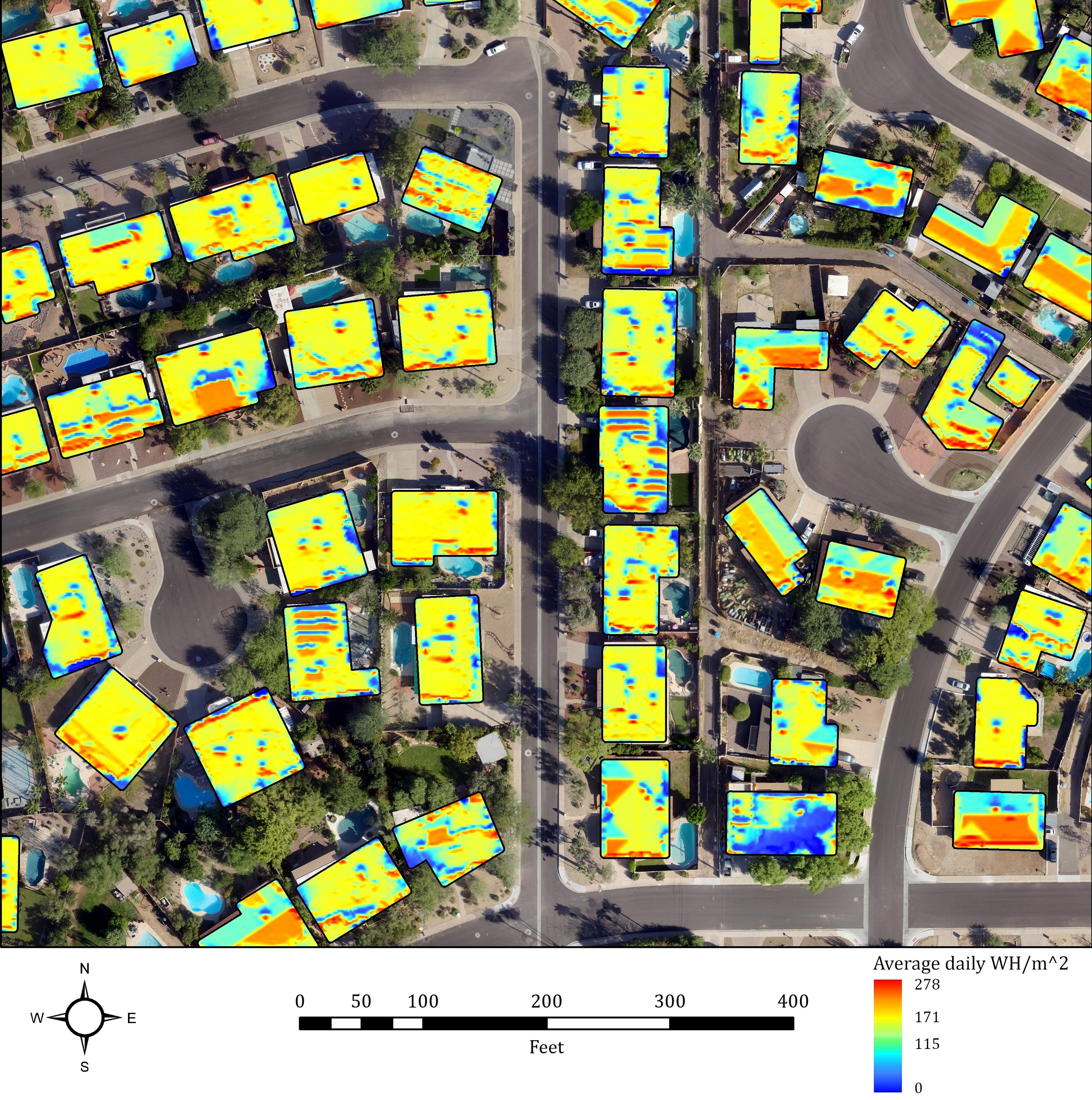 The roof-top daily solar potential calculated using a super-high resolution UAV derived elevation model and structure information from the UAV point cloud