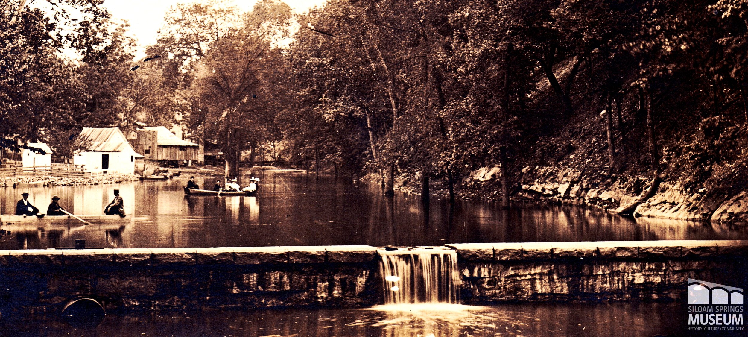 "Originally, the dam on Sager Creek was used to make a wider body of water called ""Lake Siloam."" Due to flooding concerns, the creek was later narrowed and the banks were built up."