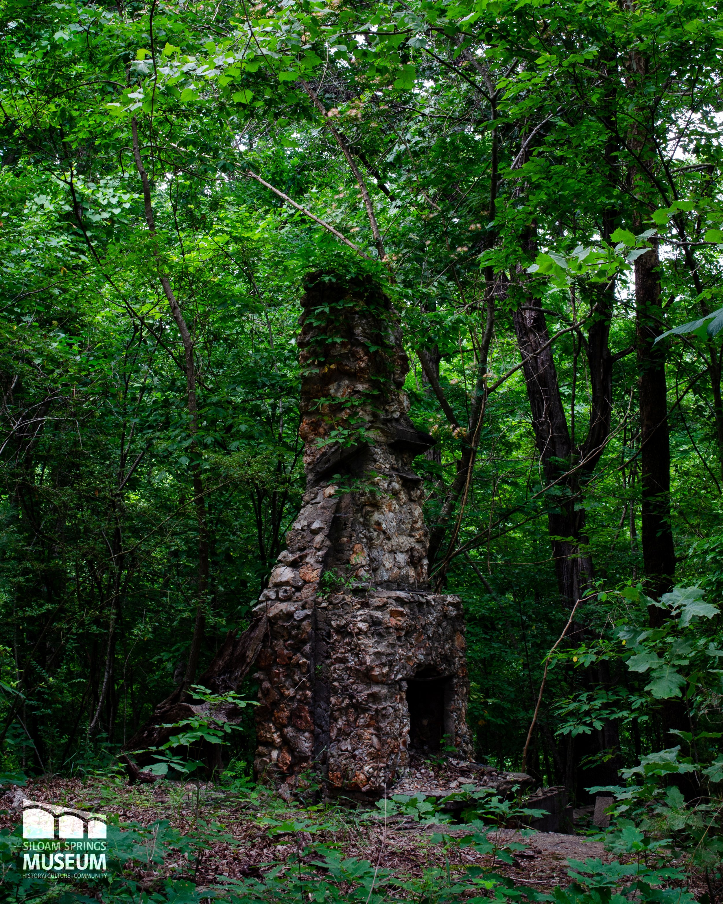 Though the Forest Park cabins no longer remain, some of their chimneys still stand alone in the woods.